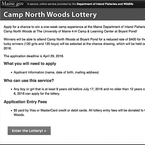 Camp North Woods Lottery