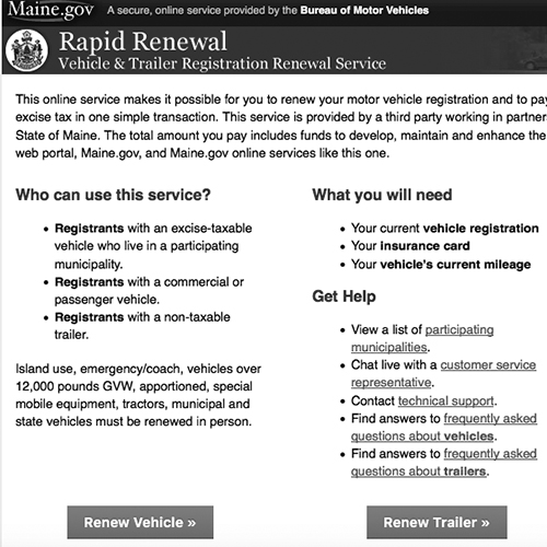 Rapid Renewal - Online Vehicle Registration Renewal