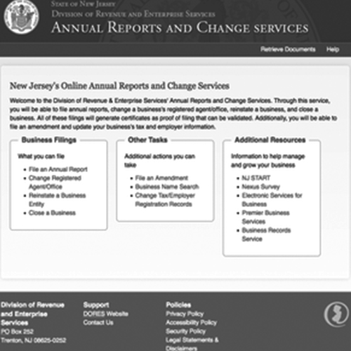 New Jersey Annual Reports & Change Service